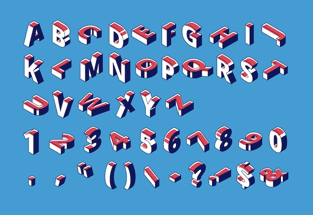 Alphabet isométrique, chiffres et ponctuation avec motif en pointillé demi-teinte debout et se trouvant à cru sur le bleu. Vecteur gratuit