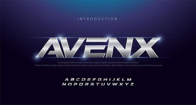 Alphabet italic sport modern silver fonte. polices typographiques 3d inox argentées Vecteur Premium