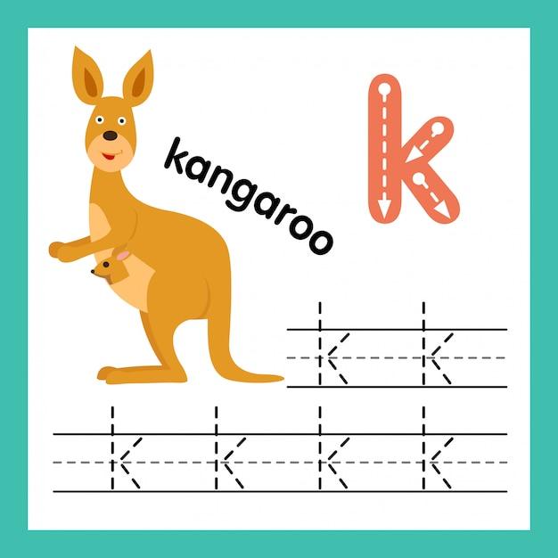 Alphabet k exercice avec illustration de vocabulaire de dessin animé Vecteur Premium