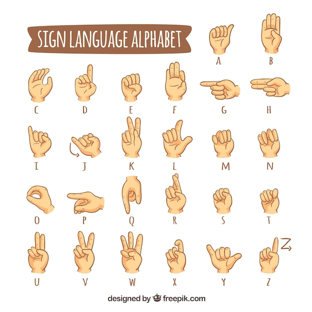 Alphabet de langue des signes dans le style dessiné à la main Vecteur gratuit