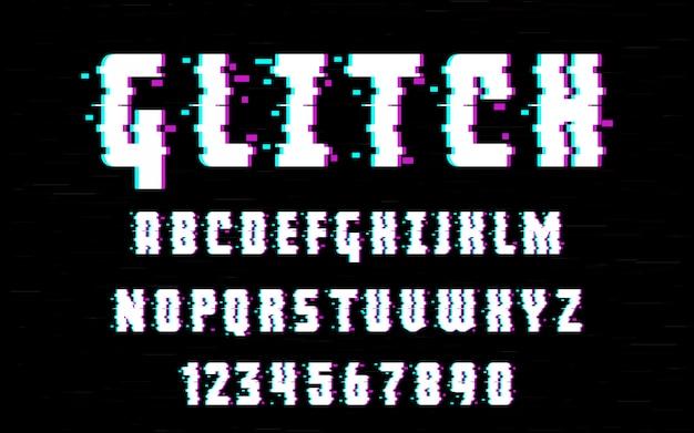 Alphabet latin police de caractères de type pépin déformé. lettres et chiffres vector illustration. pour votre conception Vecteur Premium