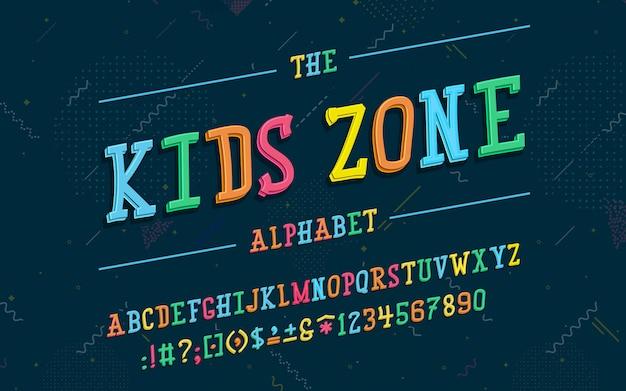 Alphabet latin police zone enfants dans un style 3d de dessin animé mignon. pour votre conception Vecteur Premium