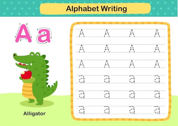 Alphabet Letter A-alligator Exercice Avec Illustration De Vocabulaire De Dessin Animé Vecteur Premium