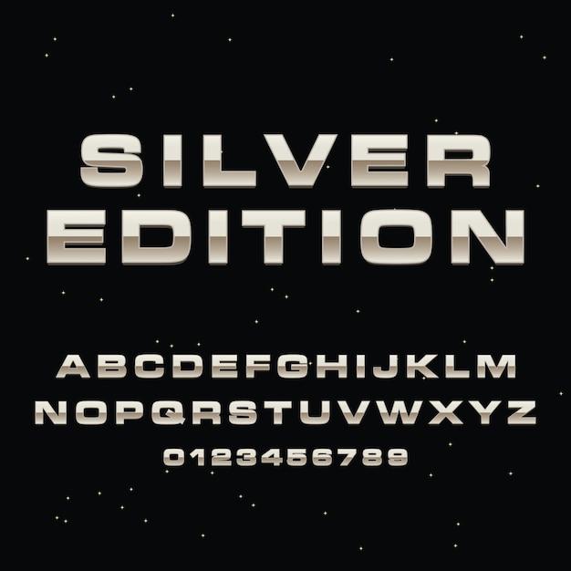 Alphabet de lettrage 3d argent premium vector Vecteur Premium
