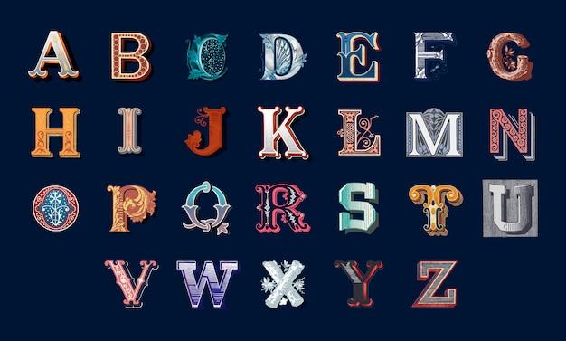 Alphabet lettrage Vecteur gratuit