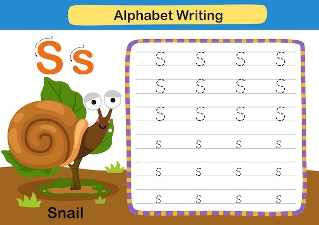 Alphabet Lettre Exercice S Escargot Avec Illustration De Vocabulaire De Dessin Animé Vecteur Premium