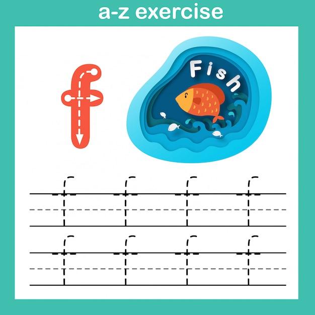 Alphabet lettre f-poisson exercice, papier découpé illustration vectorielle concept Vecteur Premium