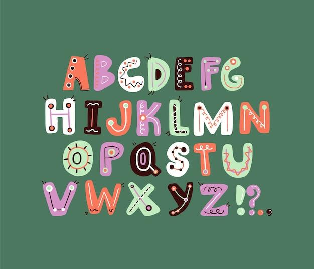 Alphabet Lettre Funky Mignon Lettre Colorée Et Ludique Vecteur Premium