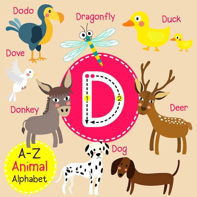 Alphabet de lettre d zoo Vecteur Premium