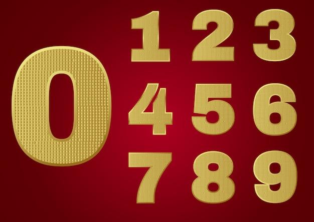 Alphabet en métal scintillant doré - chiffres Vecteur Premium