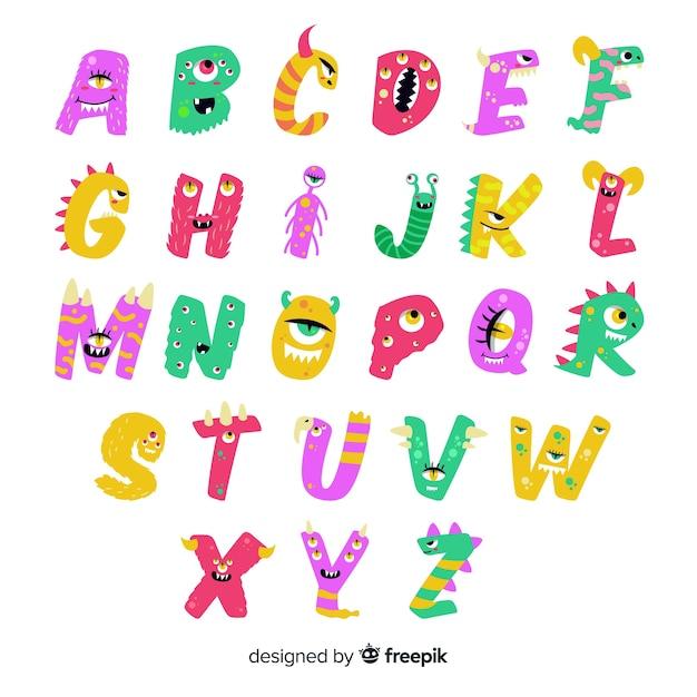 Alphabet mignon de monstre d'halloween animé sur fond blanc Vecteur gratuit