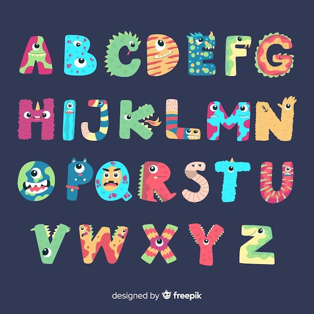Alphabet mignon de monstre d'halloween Vecteur gratuit