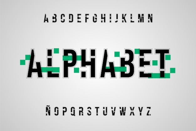 Alphabet Minimal Abstrait Vecteur gratuit