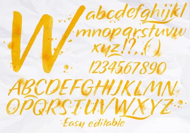 Alphabet Moderne Couleur Orange Aquarelle Vecteur Premium