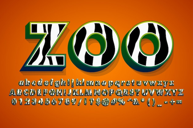 Alphabet Moderne Avec Motif De Peau De Zèbre Vecteur gratuit