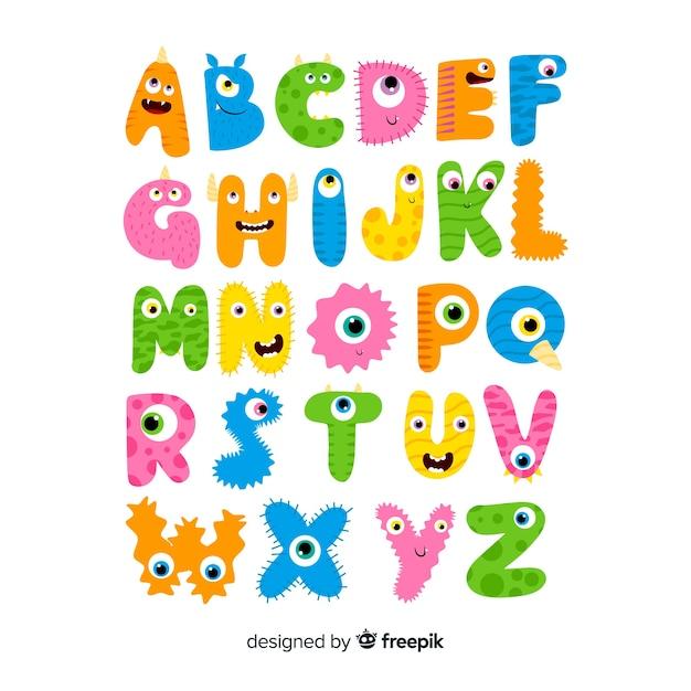 Alphabet monstre d'halloween Vecteur gratuit