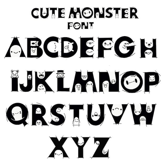 Alphabet avec des monstres mignons et drôles Vecteur Premium