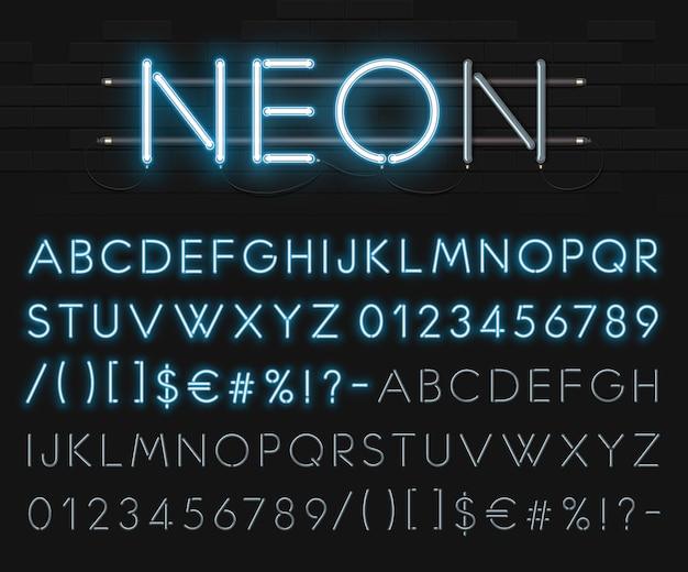 Alphabet Néon Réaliste Sur Un Fond De Mur De Briques Noires. Police Rougeoyante Bleue. Format Vecteur Premium