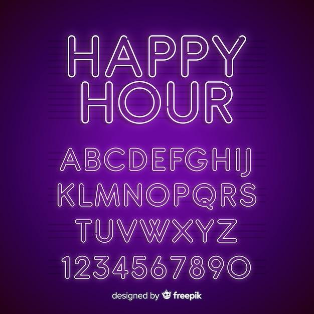 Alphabet néon Vecteur gratuit