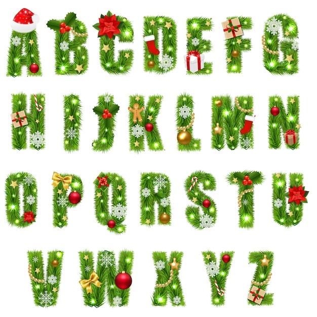 Alphabet De Noël Avec Des Jouets De Noël Vecteur Premium