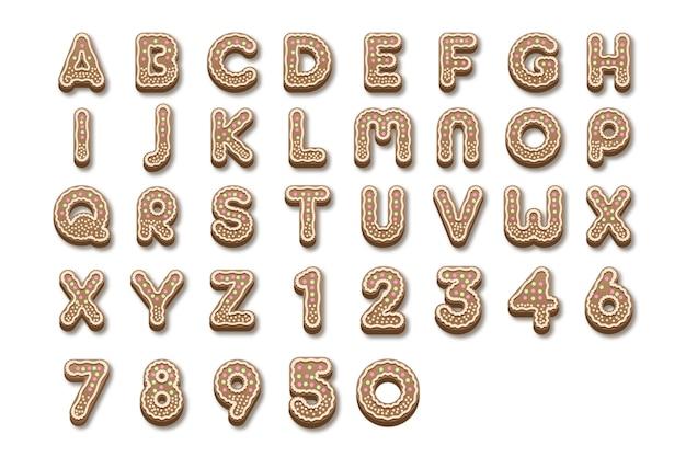 Alphabet de noël en pain d'épice de a à z Vecteur gratuit