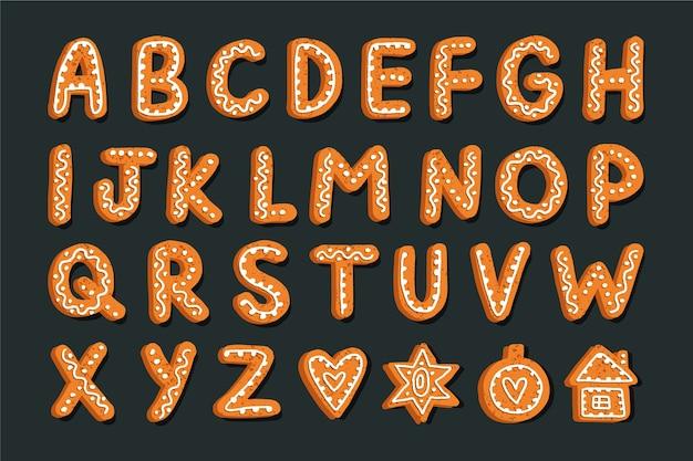 Alphabet de noël en pain d'épice Vecteur gratuit