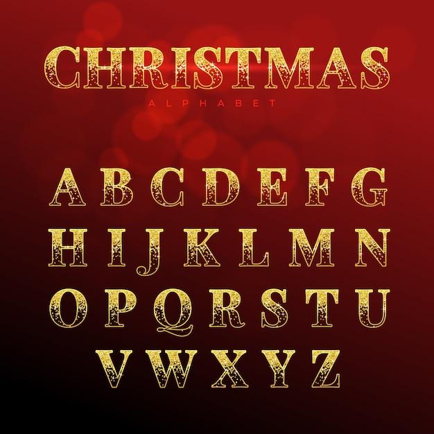 Alphabet de noël pétillant doré Vecteur gratuit