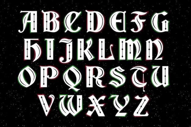 Alphabet De Noël Vintage Vecteur gratuit