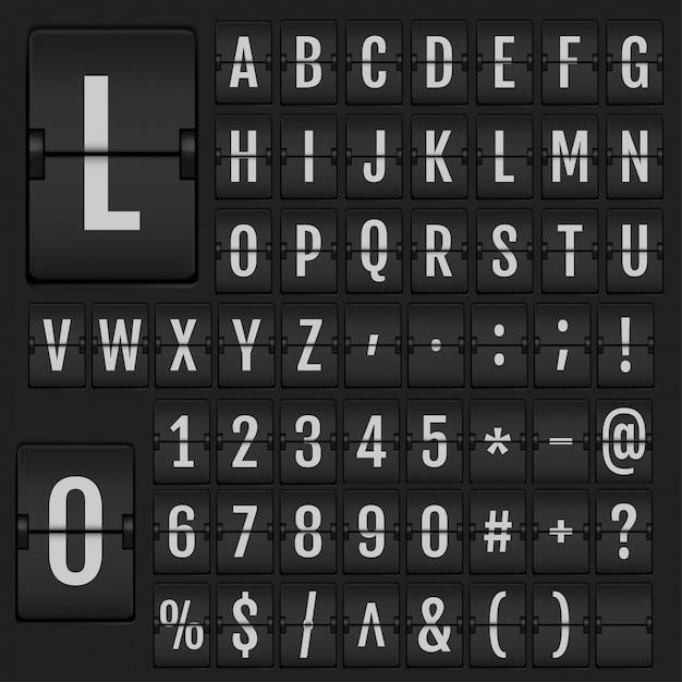 Alphabet Et Numéros De Flip Réaliste. Vecteur Premium