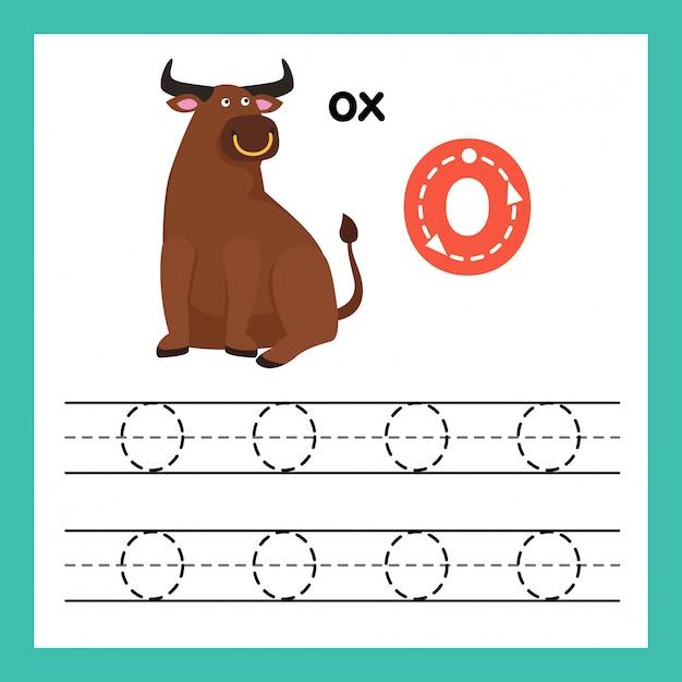 Alphabet o exercice avec illustration de vocabulaire de dessin animé, vector Vecteur Premium