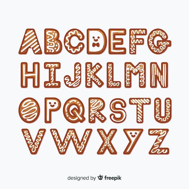 Alphabet pain d'épice Vecteur gratuit