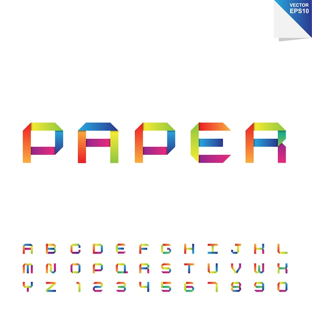 Alphabet En Papier Coloré Vecteur Premium