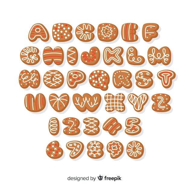 Alphabet plat en pain d'épice Vecteur gratuit