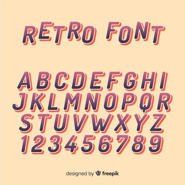 Alphabet de polices dans un style rétro Vecteur gratuit