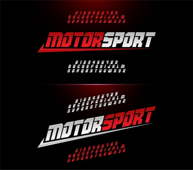 Alphabet et polices numériques modernes de sport automobile. Vecteur Premium