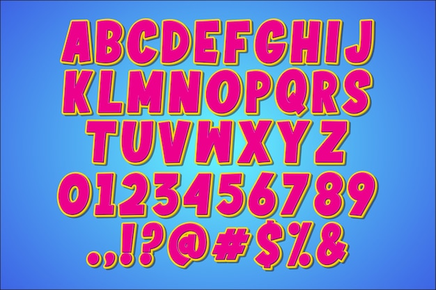 Alphabet Pop Art Rétro Fantaisie Vecteur gratuit