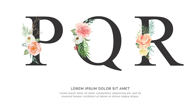 Alphabet pqr fleur et feuilles aquarelle. Vecteur Premium