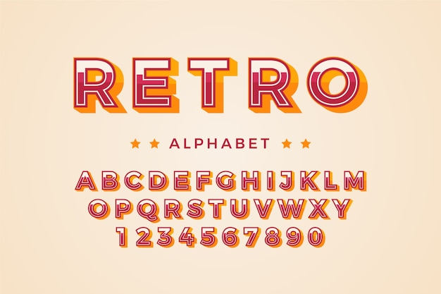 Alphabet Rétro 3d Vecteur gratuit