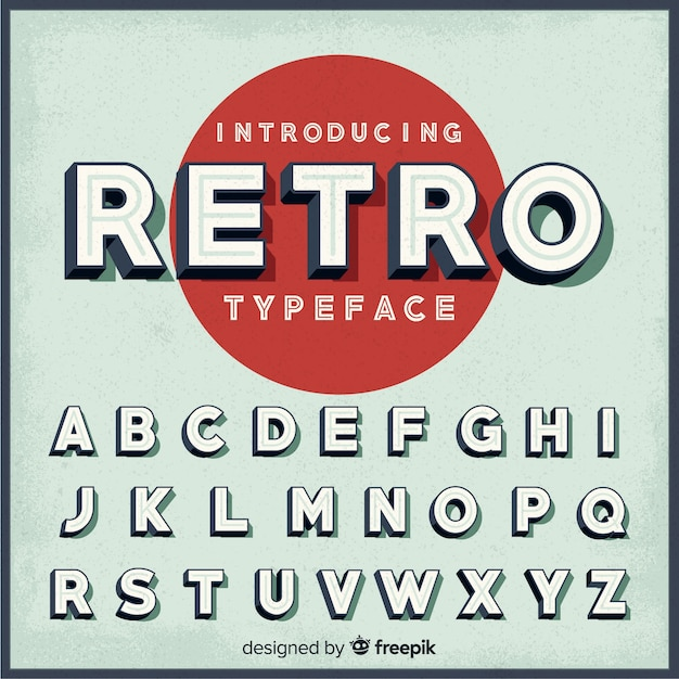 Alphabet Rétro Vecteur gratuit