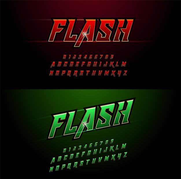 Alphabet rouge et vert motifs métalliques et effets Vecteur Premium