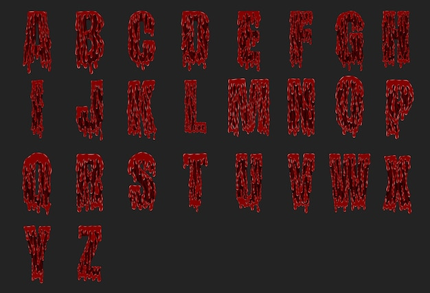 Alphabet sanglant halloween défini à partir de vecteur Vecteur Premium