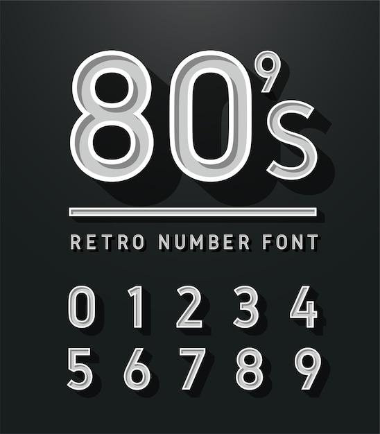 Alphabet sans empattement vintage Vecteur Premium