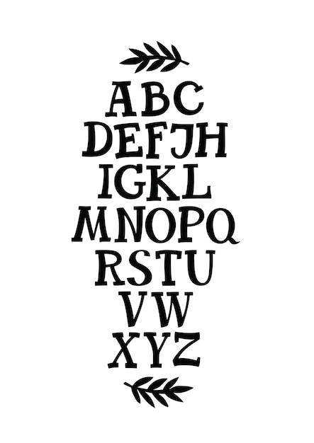 Alphabet serif police Vecteur gratuit