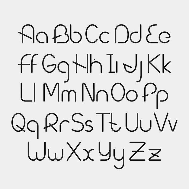 Alphabet simple et minimaliste dans le style de ligne Vecteur Premium