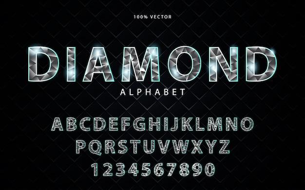 Alphabet De Style Diamant Clair Vecteur Premium