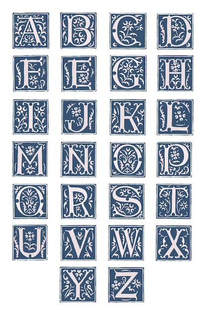 Alphabet De Style Rétro. Vecteur Premium