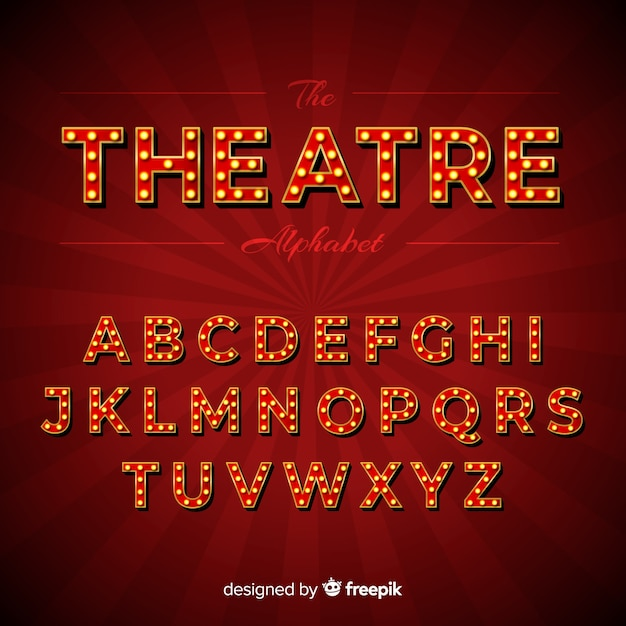 Alphabet théâtre ampoule Vecteur gratuit