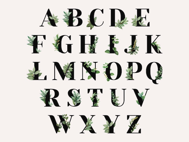 Alphabet à Thème Botanique Vecteur gratuit