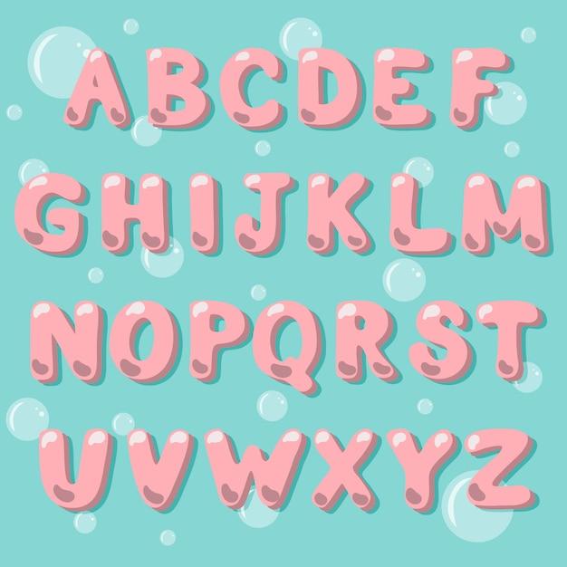 Alphabet de vecteur catoon dans un style bubble gum. Vecteur Premium
