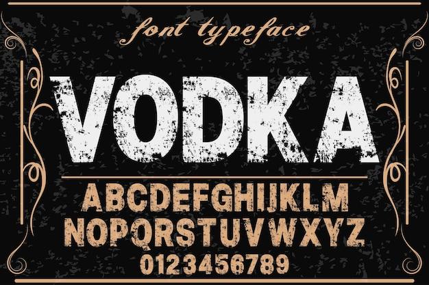 Alphabet Vecteur étiquette Design Nom Vodka Vecteur Premium
